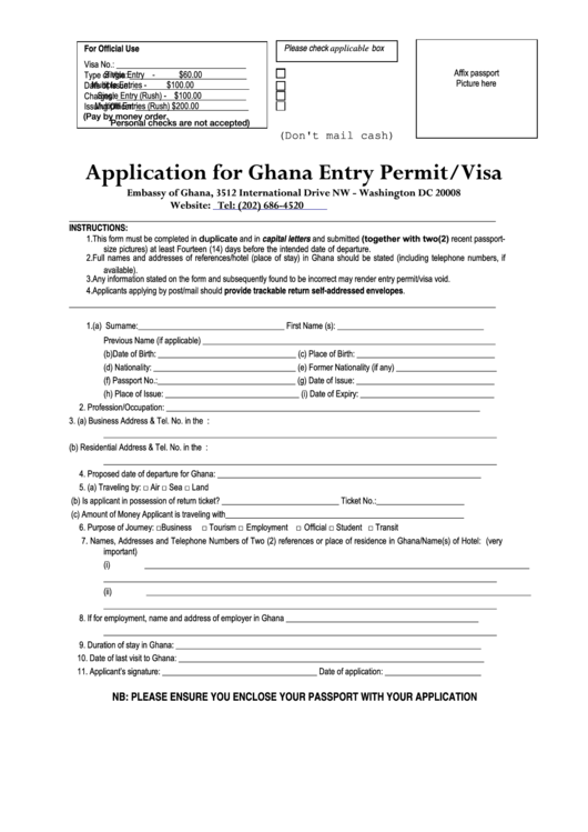Application For Ghana Entry Permit/visa Form - Embassy Of Ghana