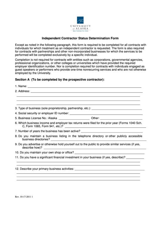 Top Declaration Of Independent Contractor Status Form Templates ...
