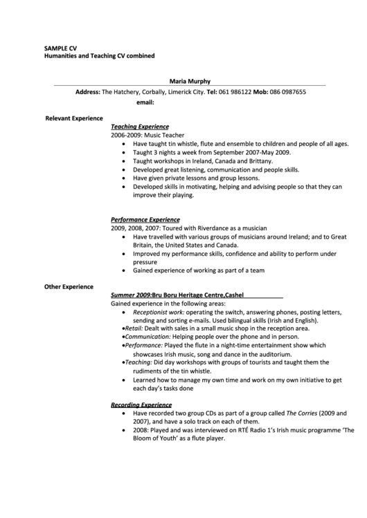 Humanities And Teaching Cv Combined Printable pdf
