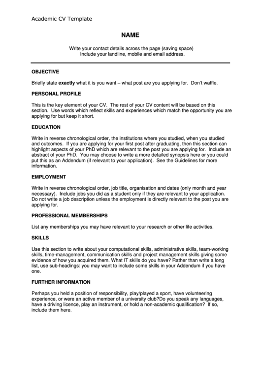 Academic Cv Template Printable pdf