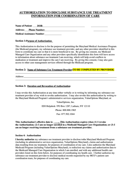 Authorization To Disclose Substance Use Treatment Information For Coordination Of Care Printable pdf