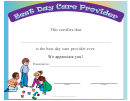 Best Day Care Provider Certificate Template