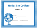 Middle School Certificate Template
