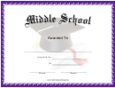 Middle School Award Certificate Template
