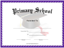 Primary School Award Certificate Template