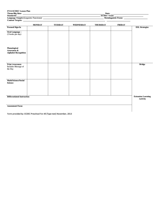 Ecdec Preschool Lesson Plan Template Printable Pdf Download