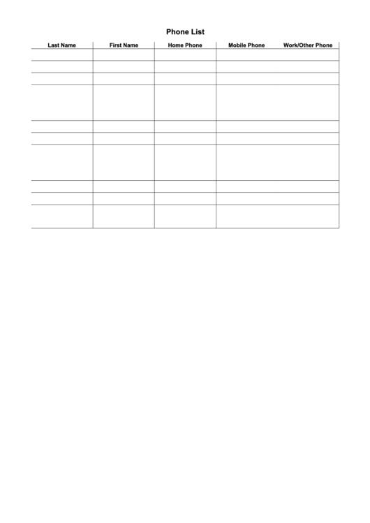Company Phone List Template Printable pdf