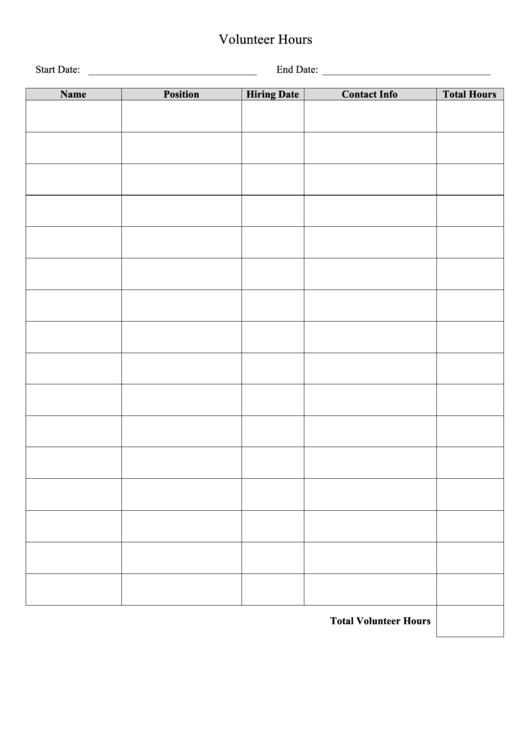 Volunteer Hours Log Template Printable pdf