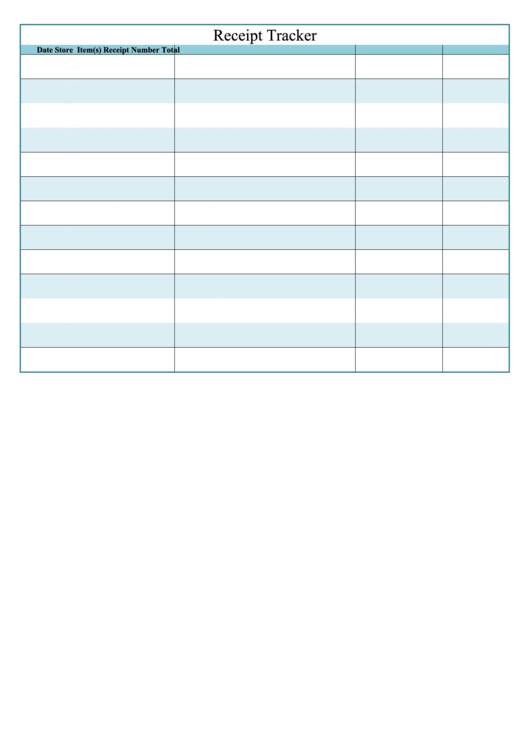 receipt tracker template printable pdf download