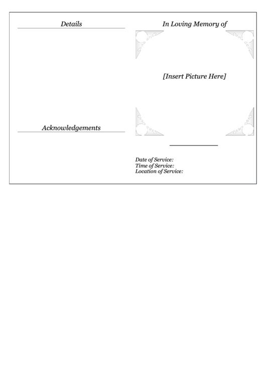 Memorial Service Pamphlet Template Printable pdf