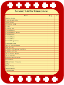 Emergency Grocery List Template
