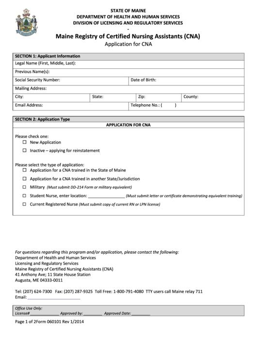 Maine Registry Of Certified Nursing Assistants Cna