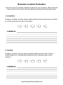 Business Location Evaluation Forms Printable pdf