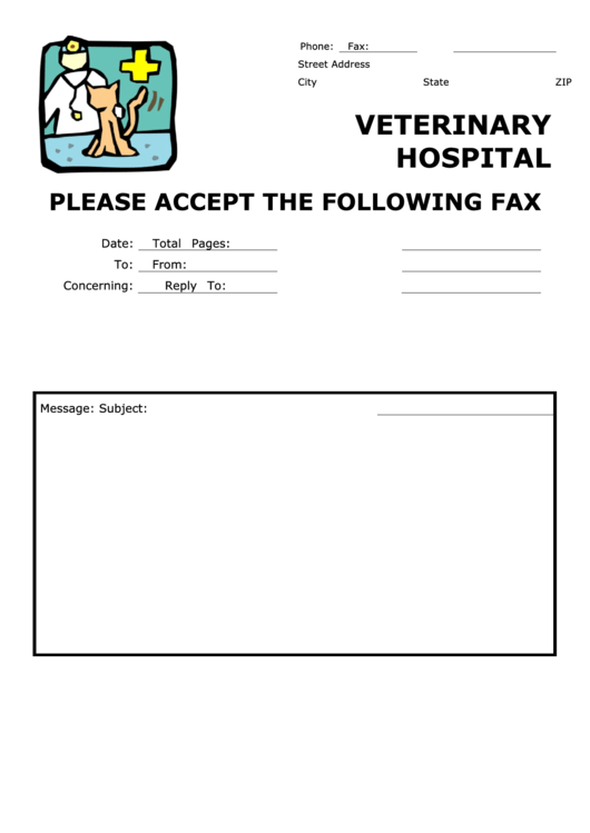 Veterinary Hospital - Professional Fax Cover Sheet