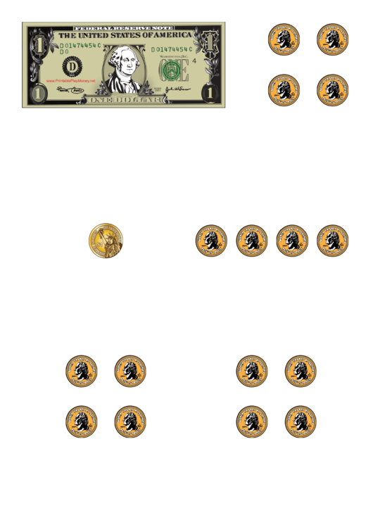 Dollar Bill And Coins Template Printable pdf