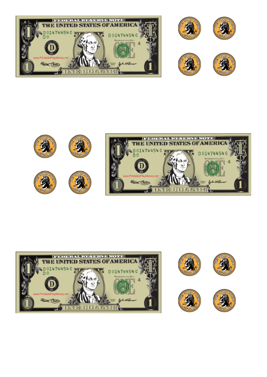 Dollar Bill And Coin Templates Printable pdf