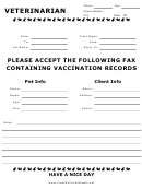 Vet Vaccination Fax Cover Sheet
