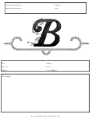 Monogram B Fax Cover Sheet Template