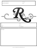 Monogram R Fax Cover Sheet Template