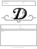 Monogram D Fax Cover Sheet Template