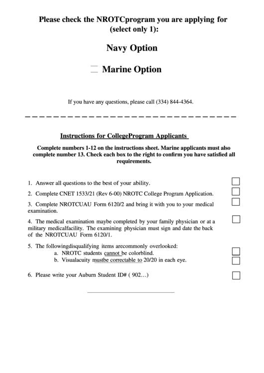 Navy Option/marine Option Nrotc Program Application Form Printable pdf