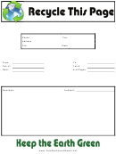 Recycle This Page - Fax Cover Sheet
