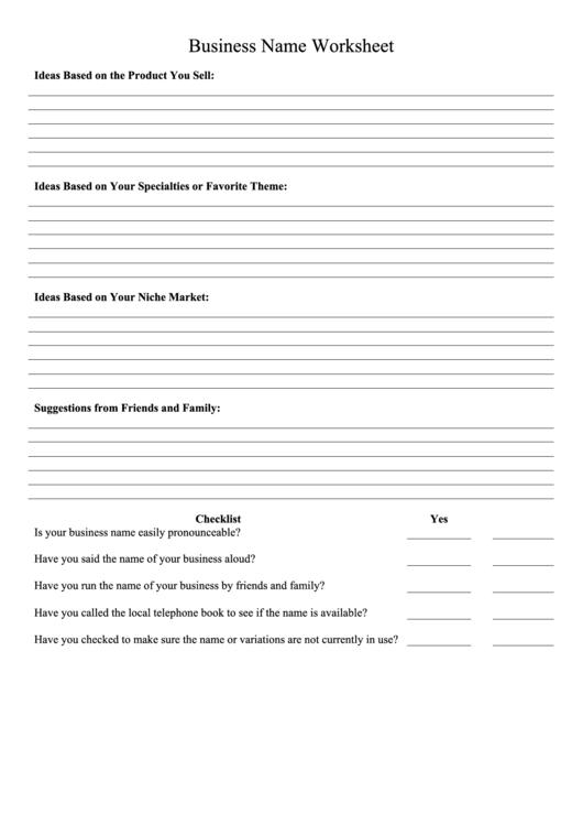 Business Name Worksheet