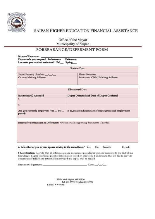 Forbearance/deferment Form printable pdf download