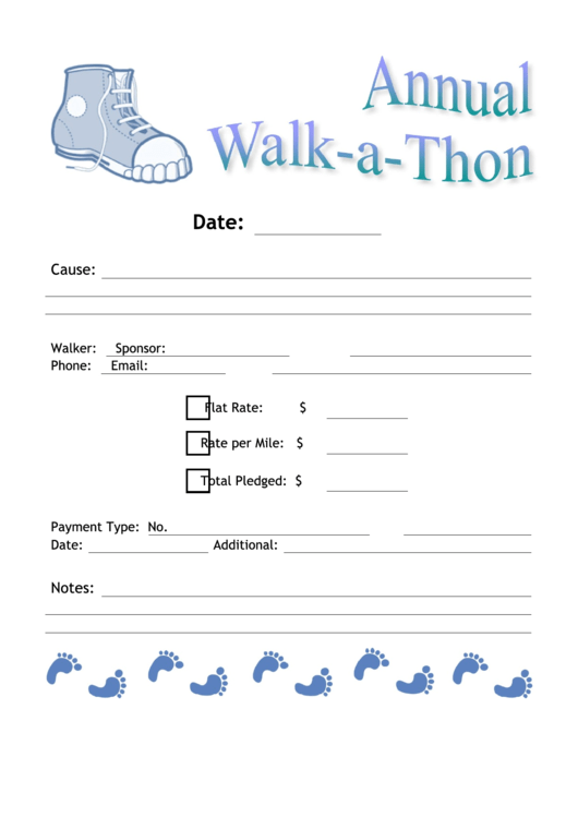 Annual Walk-A-Thon Event Flyer Template Printable pdf
