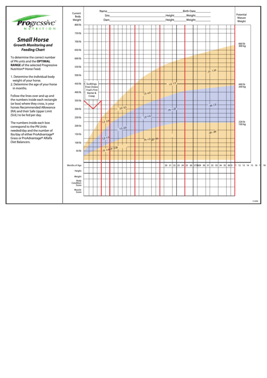 Small Horse Growth Monitoring And Feeding Chart Printable pdf