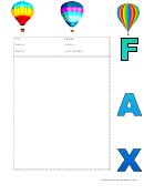 Hot Air Balloons - Fax Cover Sheet