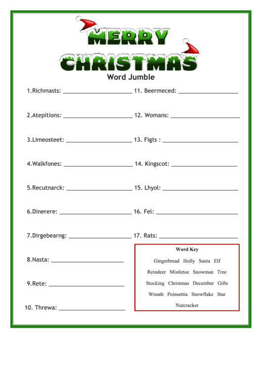 image about Printable Jumble called Xmas Phrase Jumble Recreation Sheet printable pdf down load
