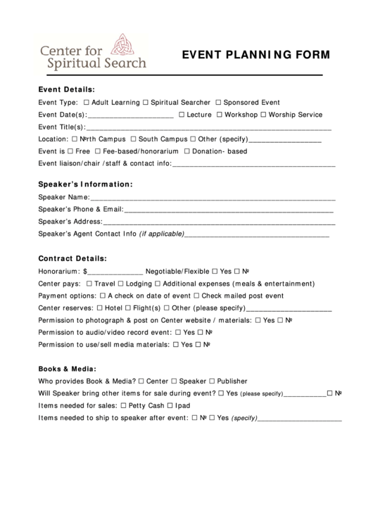 Event Planning Form