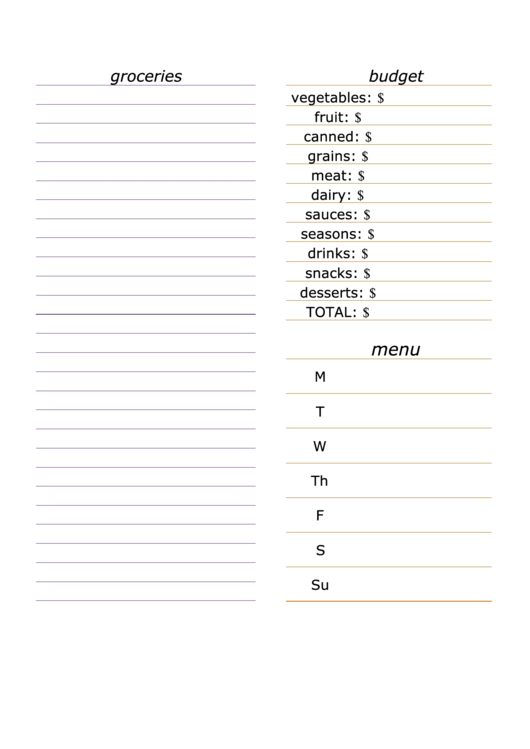 Shopping List Spreadsheet With Budget