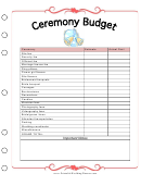 Ceremony Budget Template