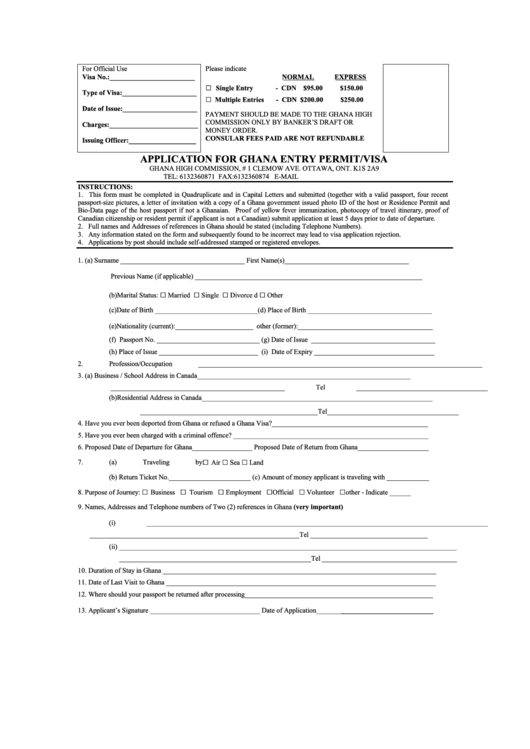 fillable application for ghana entry permit  visa form