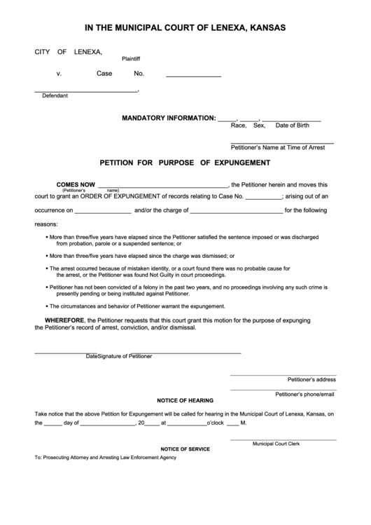 Petition For Purpose Of Expungement Form Court Of Lenexa