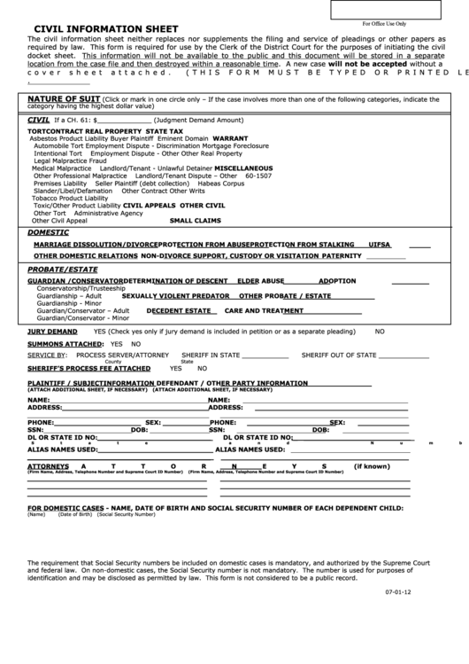 Fillable Civil Information Sheet Kansas Printable Pdf
