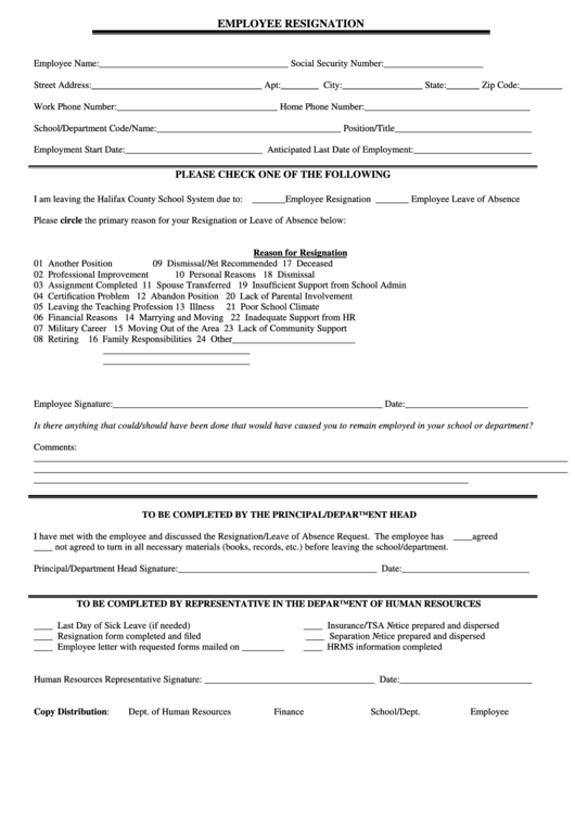 Employee Resignation Form Printable pdf