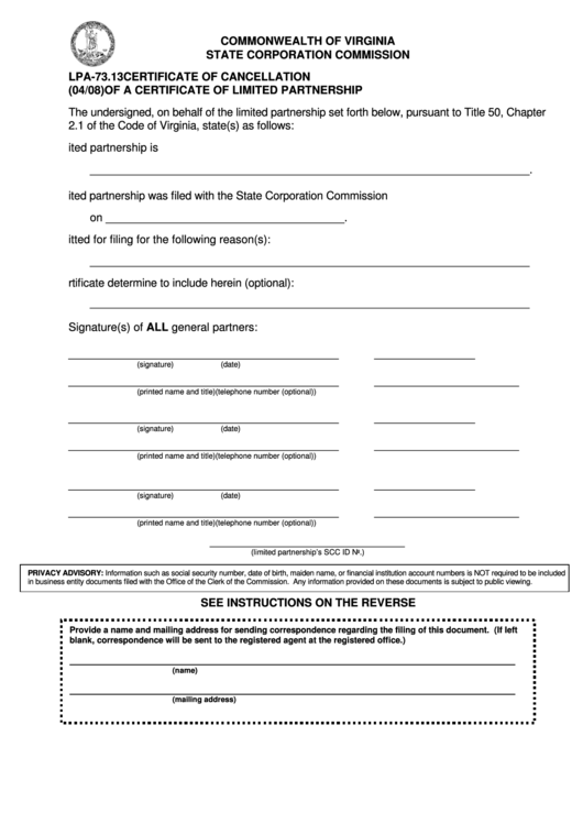 Form Lpa-73.13 - Certificate Form Of Cancellation Of A Certificate Of Limited Partnership Printable pdf