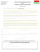 Application For Registration Of A Foreign Limited Partnership Form - Secretary Of State