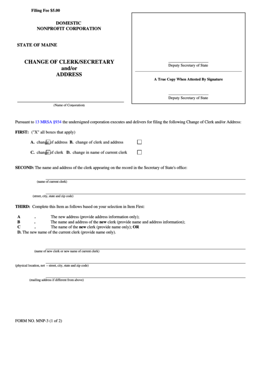 Fillable Form Mnp-3 - Change Of Clerk/secretary And/or Address Form - State Of Maine Printable pdf