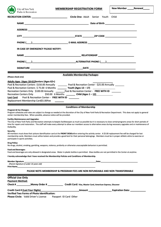 Membership Registration Form - City Of New York Department Of Parks & Recreation Printable pdf