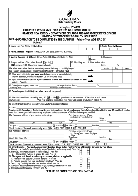 Disability Claim Form State Of New Jersey Department Of Labor And Workforce Development Printable Pdf Download