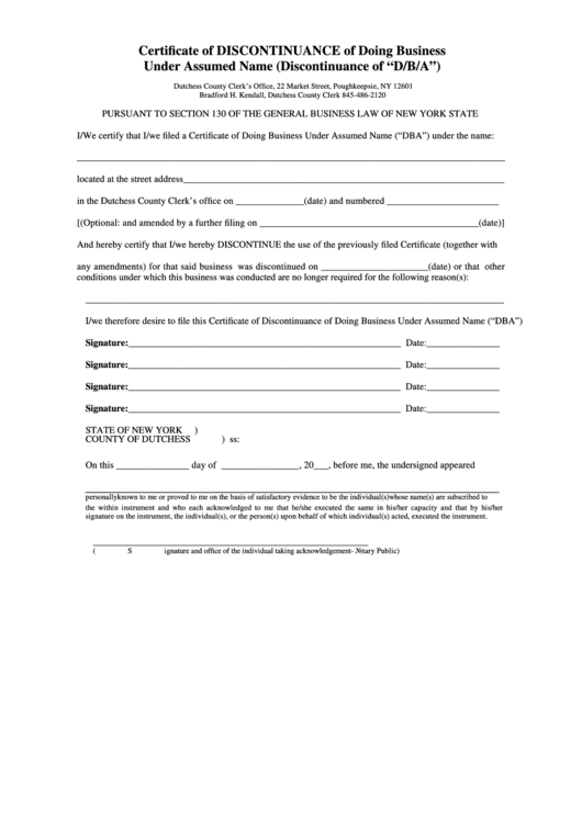 Fillable Certificate Of Discontinuance Of Doing Business Under ...