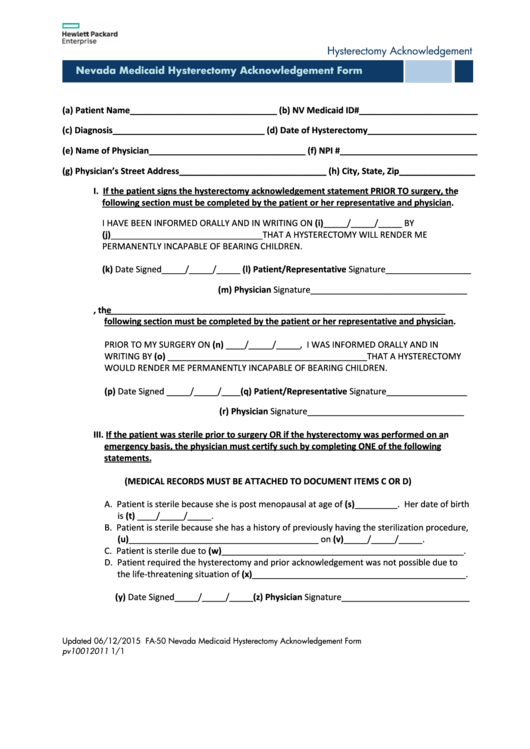 Fa-50 Nevada Medicaid Hysterectomy Acknowledgement Form printable ...