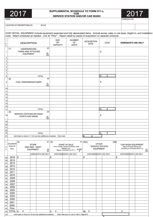 Supplemental Schedule To Form 571-l For Service Station And/or Car ...