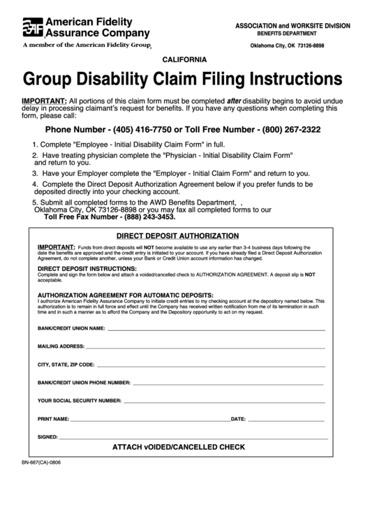 Group Disability Claim Filing Instructions And Employer Initial ...