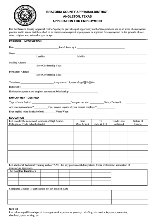 Application For Employment Form - Brazoria County Appraisal District Angleton, Texas Printable pdf