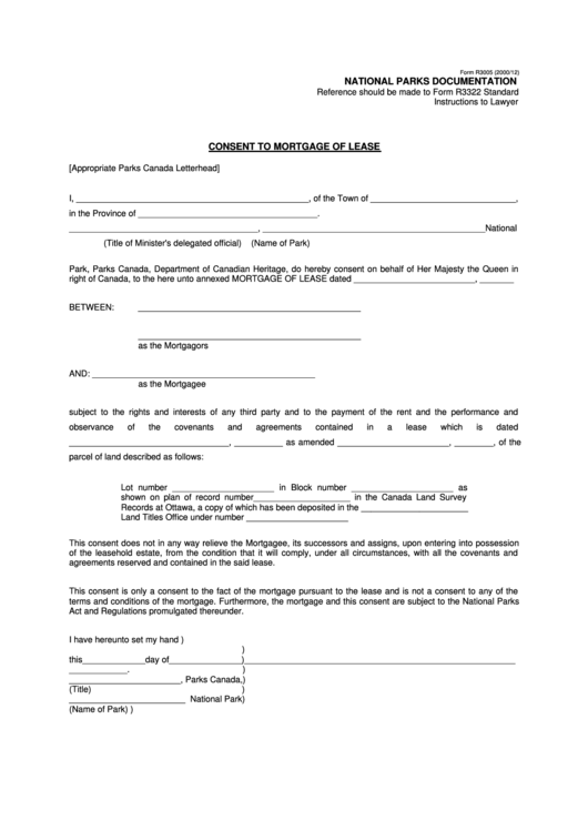 form r3005 - consent to mortgage of lease
